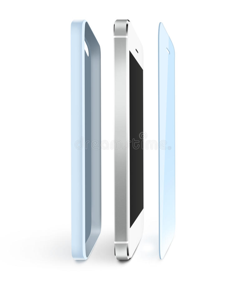 电话保护影片和案件立场 智能手机显示保护者玻璃 皇族释放例证