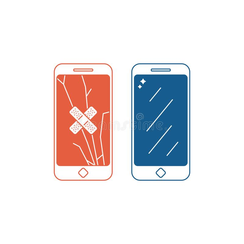 电话修理服务例证 电话有残破的屏幕的和有一个固定的屏幕的 也corel凹道例证向量 皇族释放例证