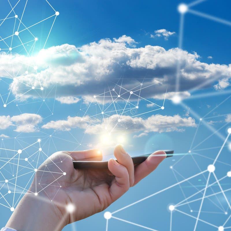 电话和云彩数据 免版税图库摄影