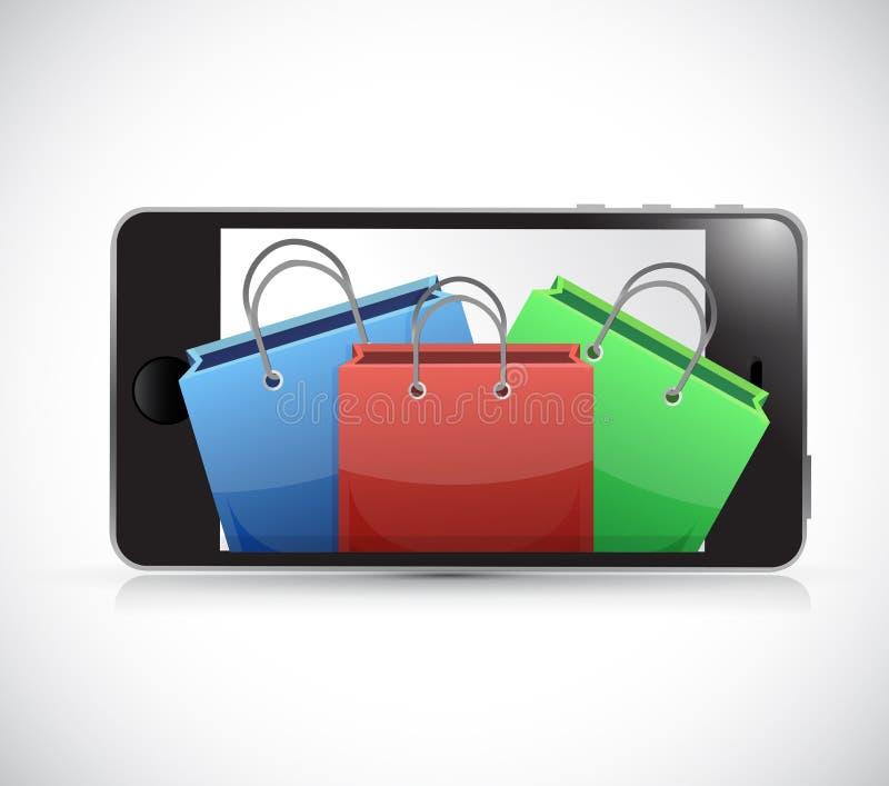 电话和购物袋。例证设计 库存例证