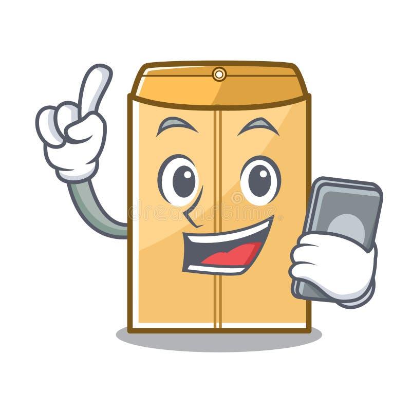 电话在字符形状的邮件信封 库存例证