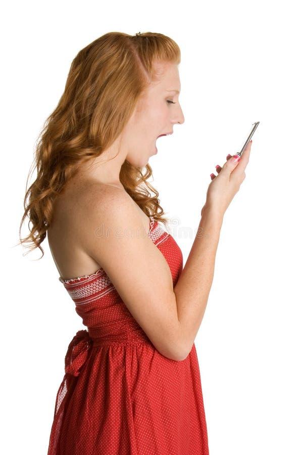 电话妇女叫喊 库存照片