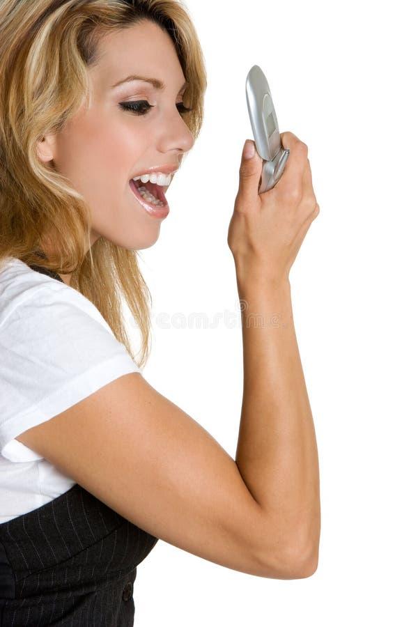 电话妇女叫喊 免版税库存图片