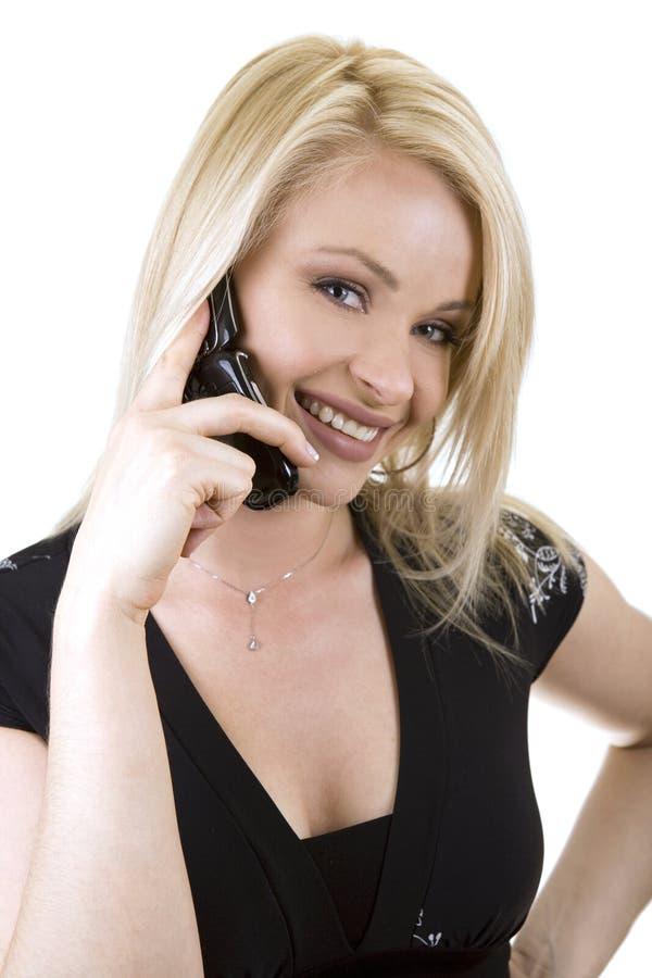 电话妇女 免版税图库摄影