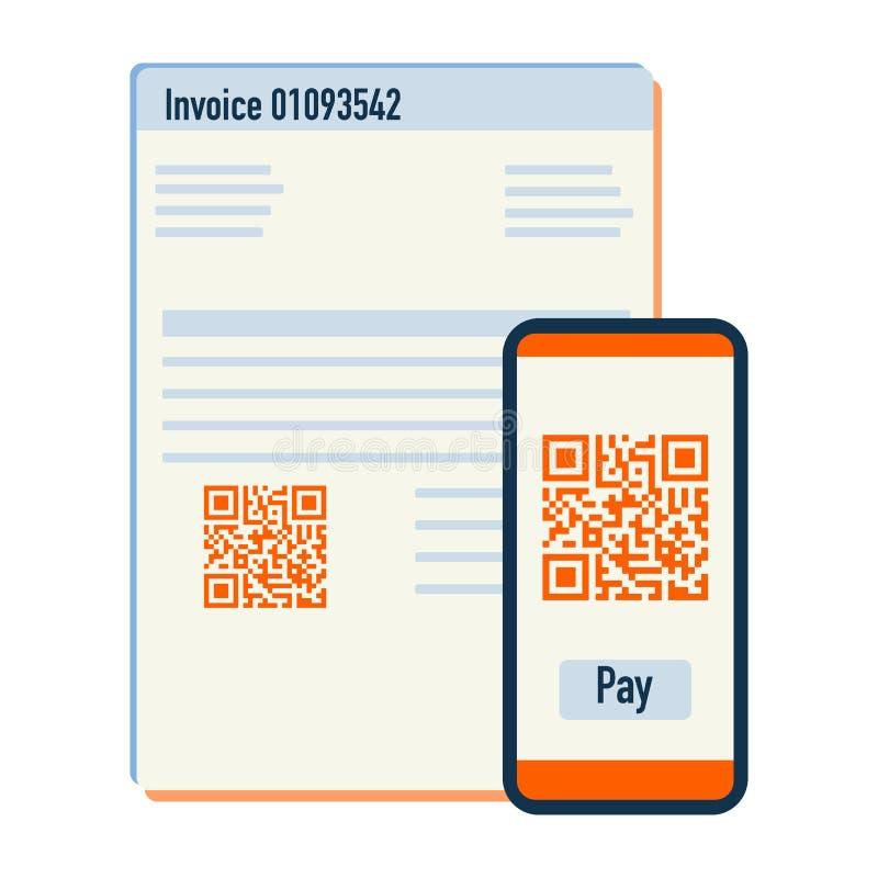 电话扫描付款发货票的qr代码 ?? 库存例证