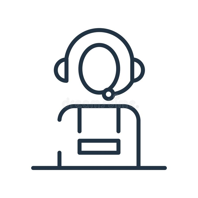 电话推销员在白色背景、电话推销员标志、线标志或在概述样式的线性元素设计隔绝的象传染媒介 皇族释放例证