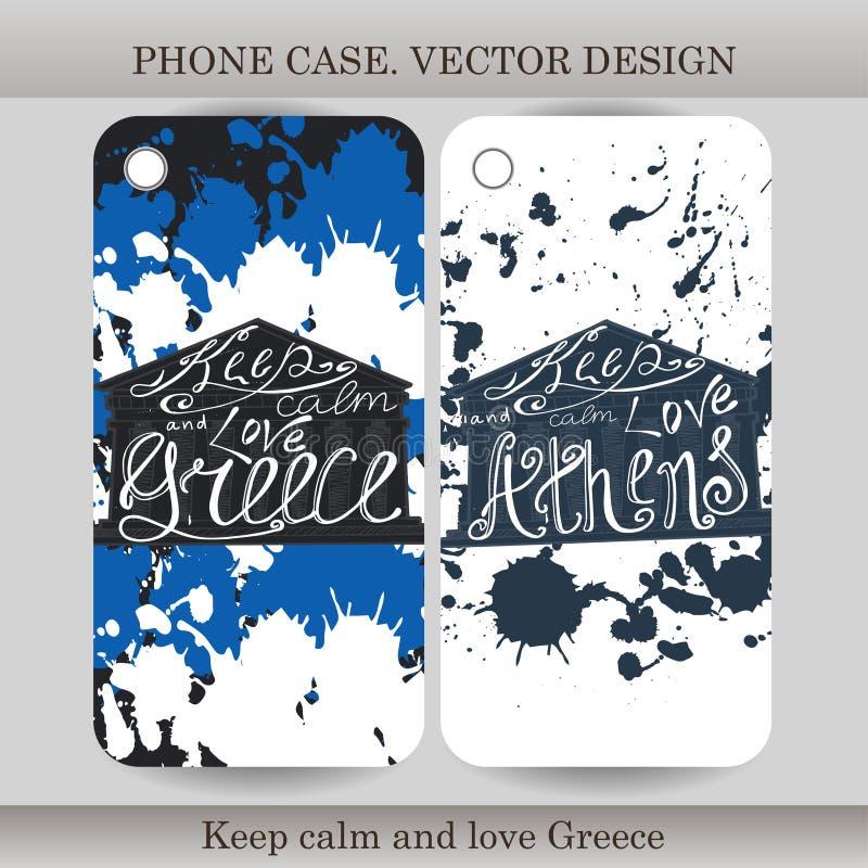 电话有手拉的希腊例证的盒盖子 皇族释放例证