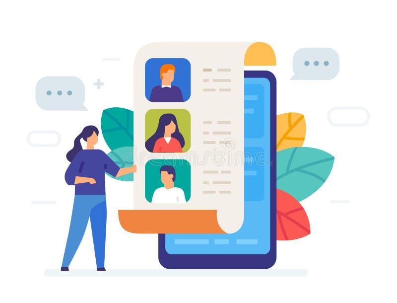 电话本,联络象,例证 智能手机片剂用户界面社会媒介 平的例证象 库存例证