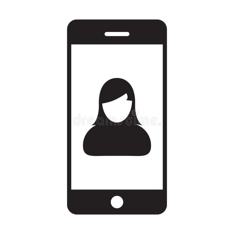 电话用户象传染媒介女性有流动标志的外形具体化在纵的沟纹图表的通信的 库存例证