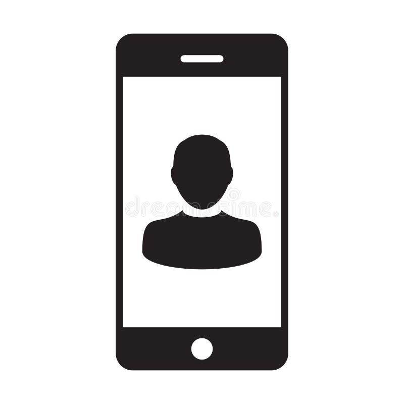 电话用户象传染媒介男性收养有流动标志的外形具体化在纵的沟纹图表的通信的 库存例证