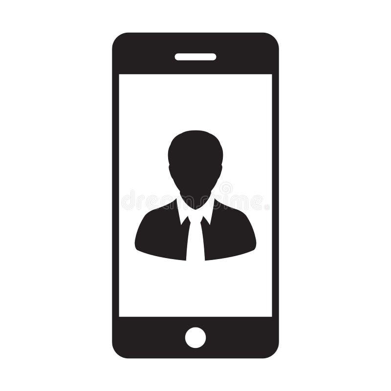 电话用户象传染媒介男性收养有流动标志的外形具体化在纵的沟纹图表的通信的 向量例证