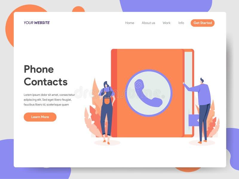 电话登陆的页模板与例证概念联系 网页设计的现代设计概念网站和机动性的 免版税库存照片