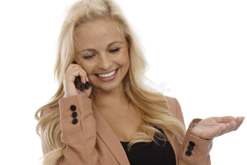 电话的可爱的女实业家 库存照片