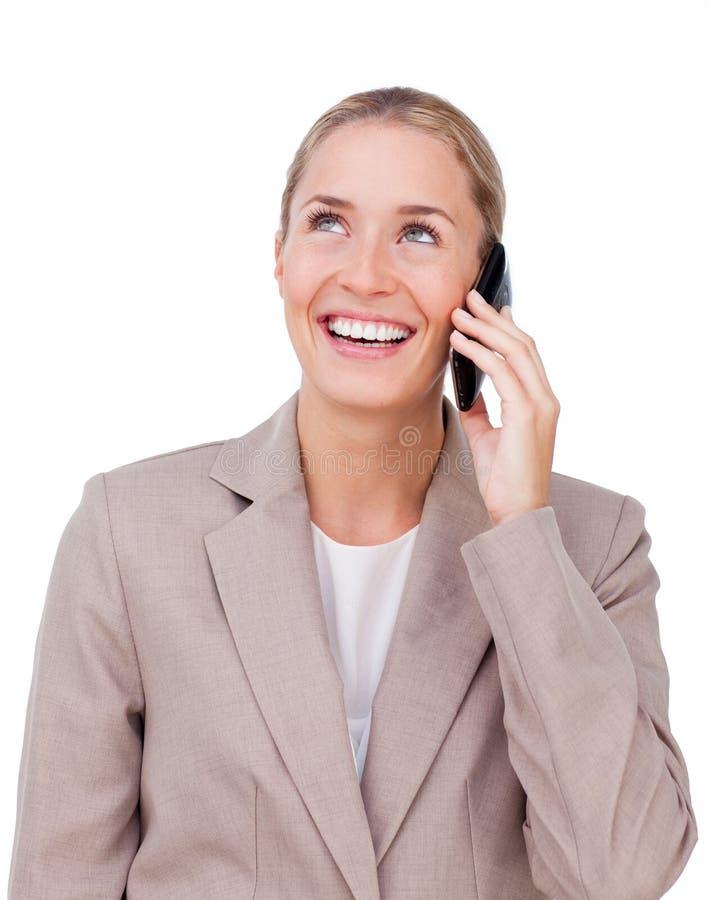 电话的美丽的女实业家 免版税库存图片