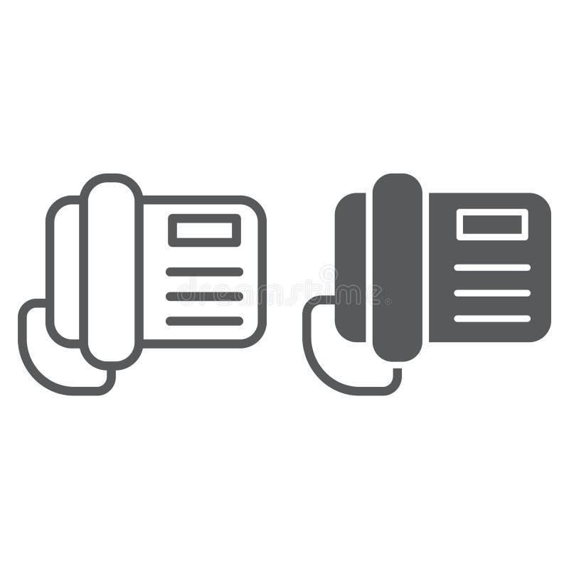 电话线和纵的沟纹象、电话和通信,电话标志,向量图形,一个线性样式 向量例证