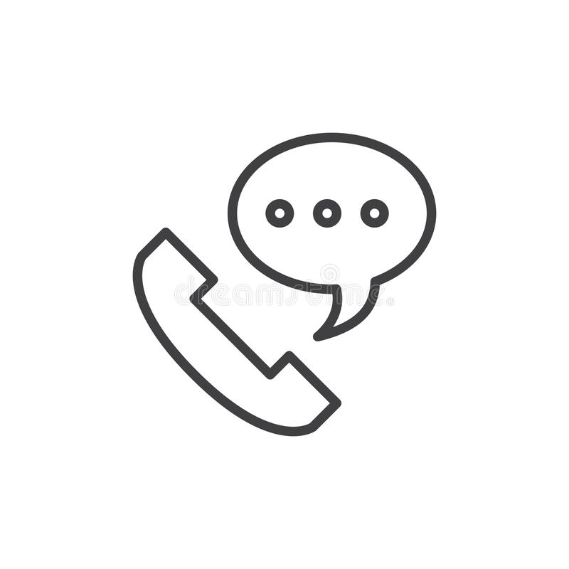 电话线象,概述传染媒介标志,在白色隔绝的线性样式图表 向量例证