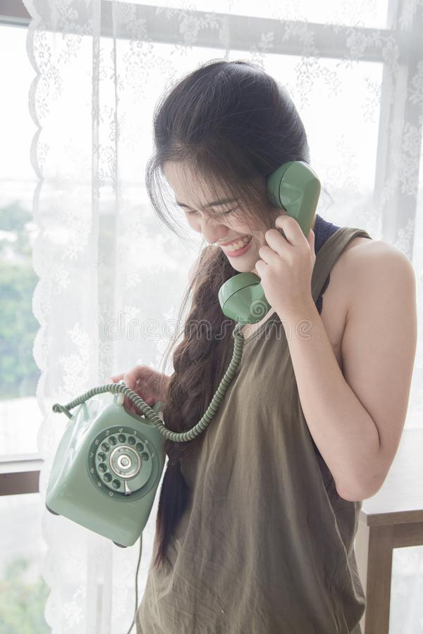 电话联系的妇女 库存照片