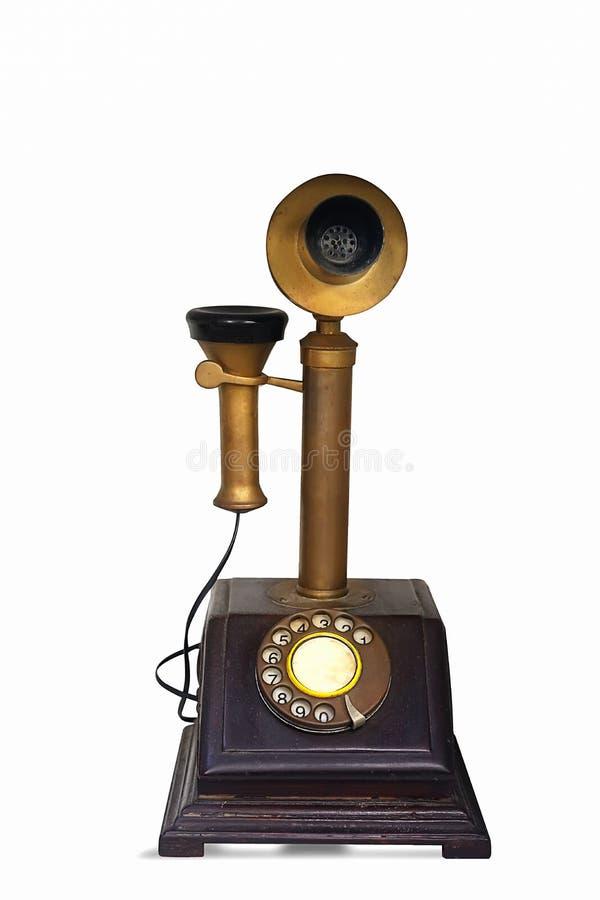 电话葡萄酒 在白色背景隔绝的老减速火箭的电话 免版税库存照片