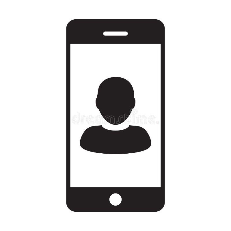 电话象传染媒介男性收养有流动标志的外形具体化在纵的沟纹图表的通信的 向量例证