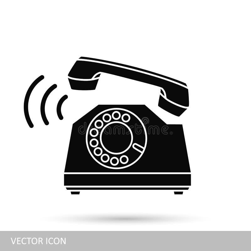 电话象剪影 在平的设计样式的象  皇族释放例证