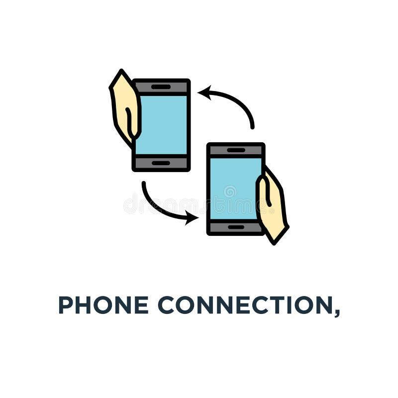电话连接,两个流动智能手机在有自转箭头象的人的手上 进来电话,文件,概念标志设计, 向量例证