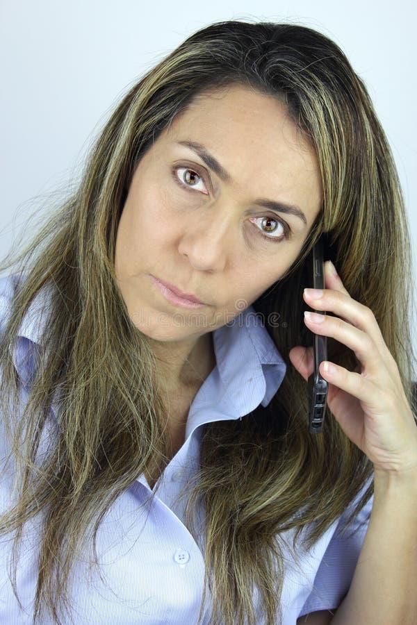 电话里的女人 库存照片