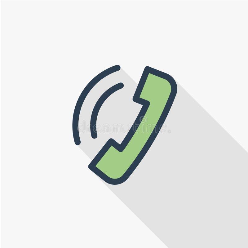 电话,与我们,手机联系,给稀薄的线平的象打电话 线性传染媒介标志五颜六色的长的阴影设计 皇族释放例证