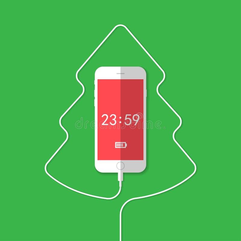 电话,导线,圣诞树,时钟 皇族释放例证