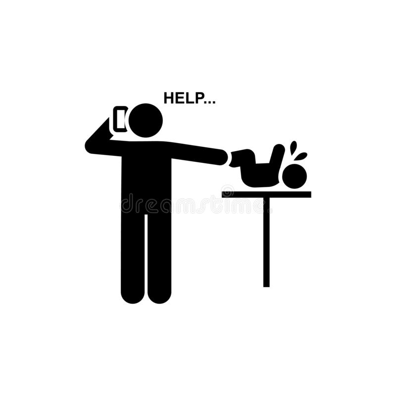 电话,帮助,婴孩,哭泣的象 r r r 皇族释放例证