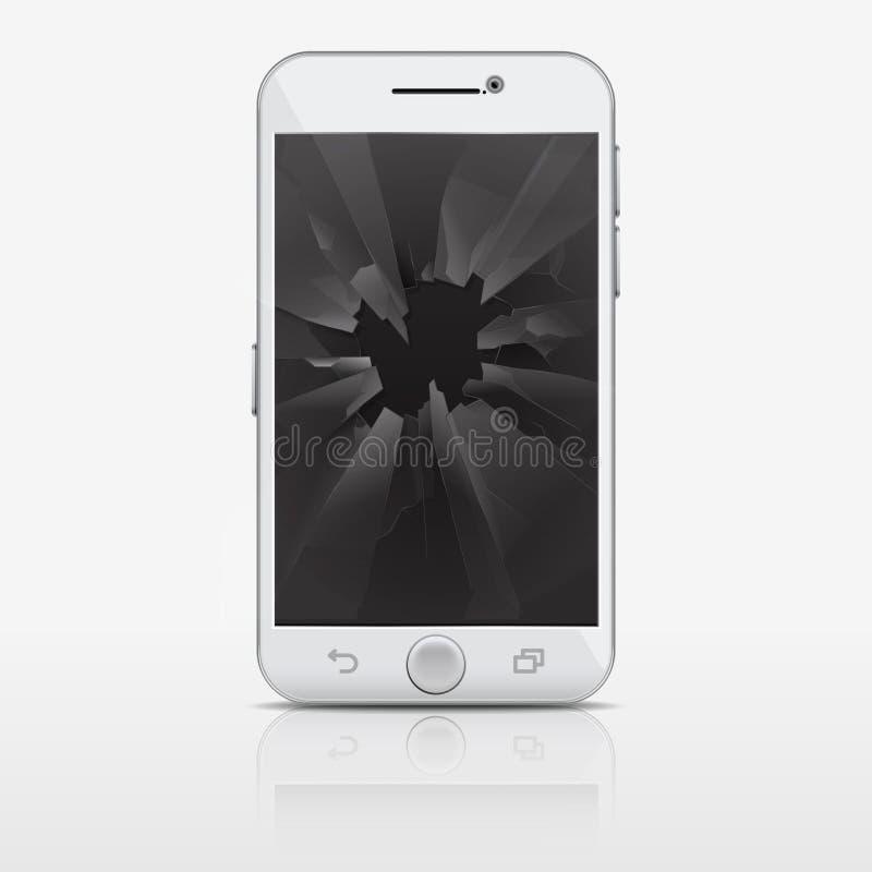 电话,智能手机传染媒介例证残破的玻璃屏幕  皇族释放例证