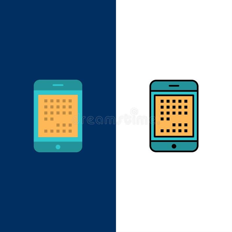 电话,计算机,设备,数字,Ipad,流动象 舱内甲板和线被填装的象设置了传染媒介蓝色背景 库存例证
