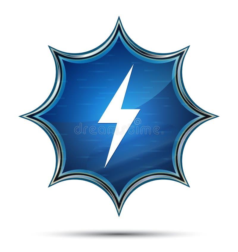 电象不可思议的玻璃状镶有钻石的旭日形首饰的蓝色按钮 皇族释放例证