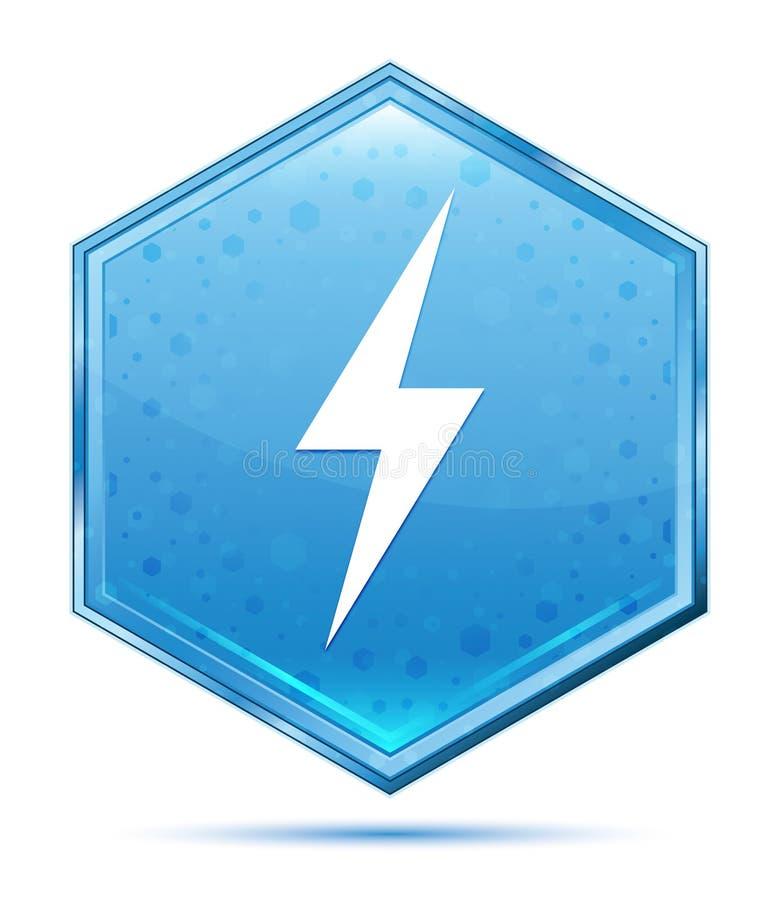 电象水晶蓝色六角形按钮 库存例证