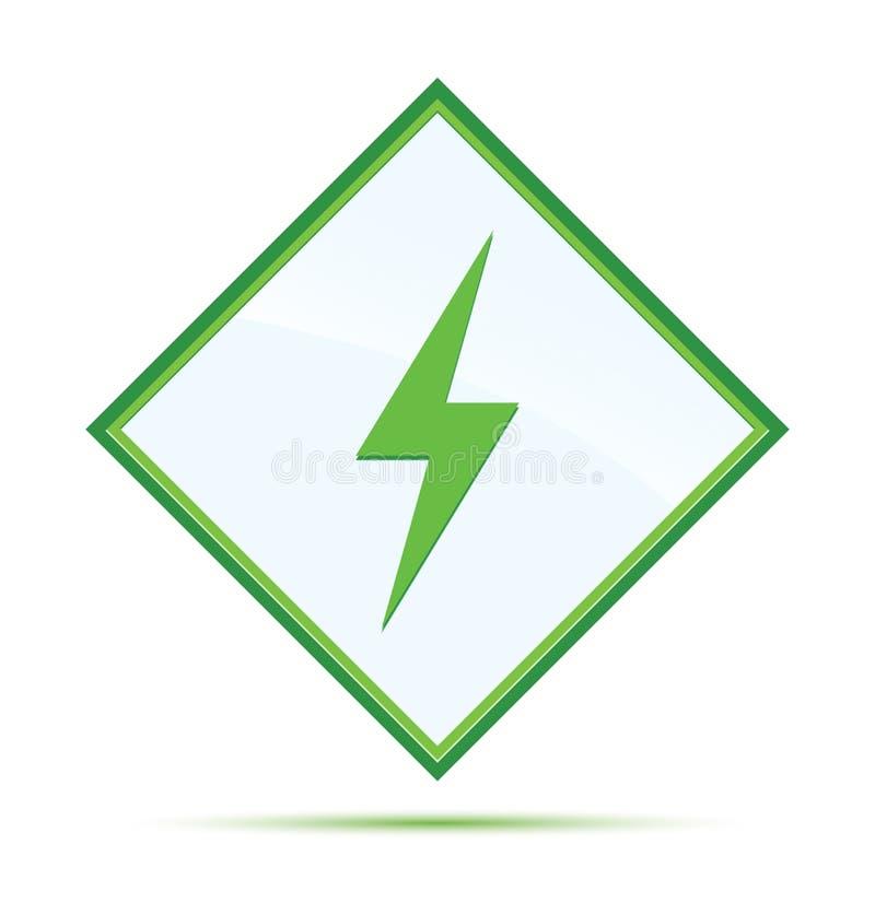 电象现代抽象绿色金刚石按钮 皇族释放例证