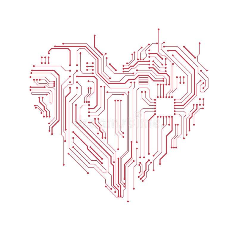 电路板心脏标志 向量例证