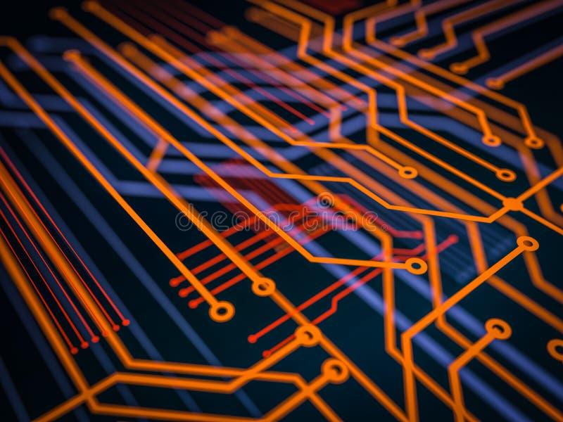 电路板未来派服务器编码处理 与bokeh的橙色,绿色,蓝色技术背景 3d例证 库存例证