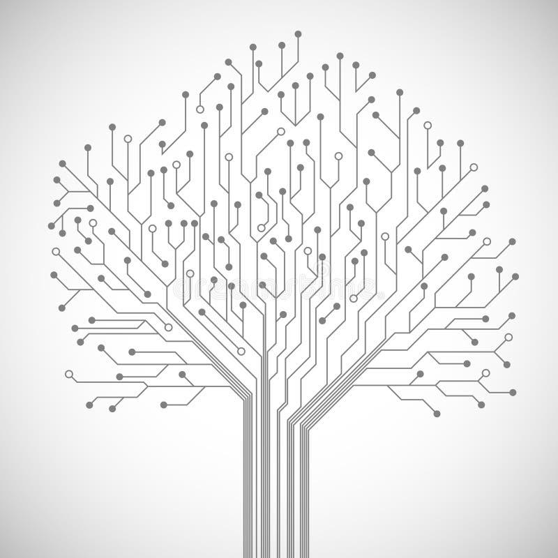 电路板树标志海报 皇族释放例证
