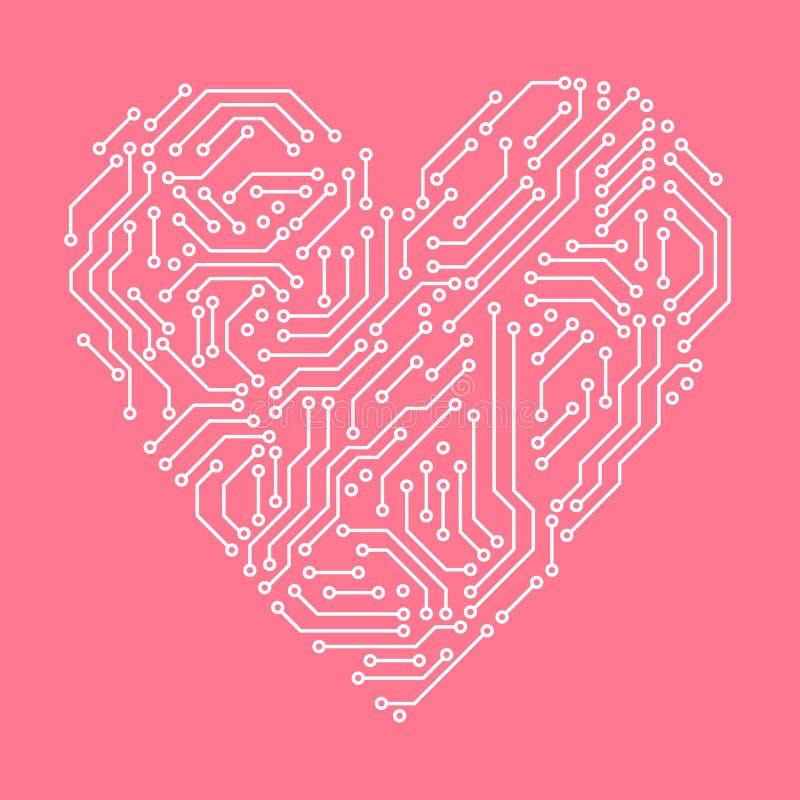电路板桃红色和白色心形电脑技术,传染媒介 向量例证