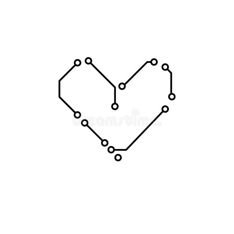 电路板黑白心脏形状计算机科技,传染媒介 向量例证