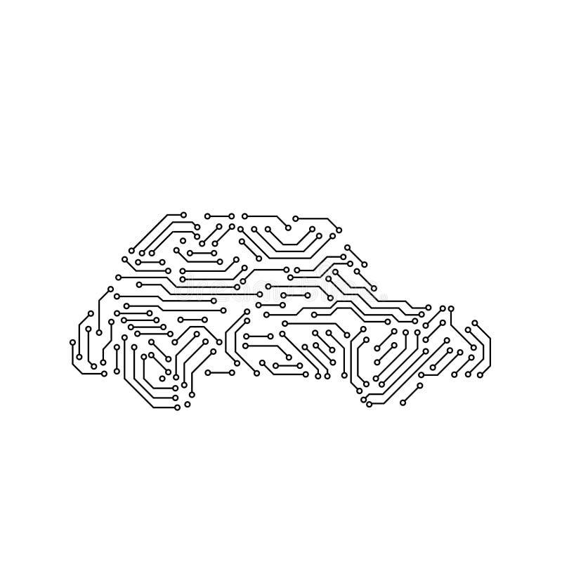 电路板黑白汽车形状计算机科技,传染媒介 库存例证