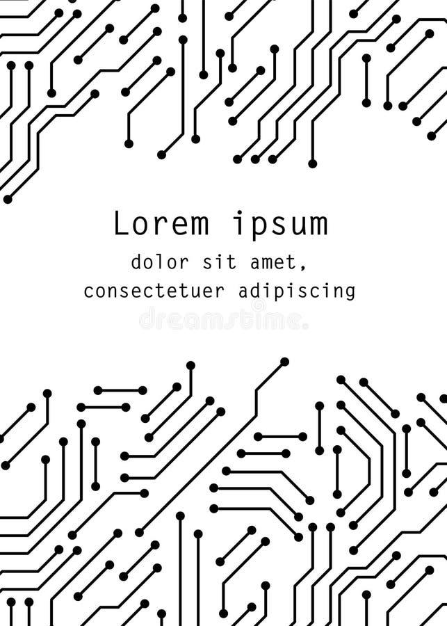 电路板黑白计算机科技海报模板,传染媒介 向量例证