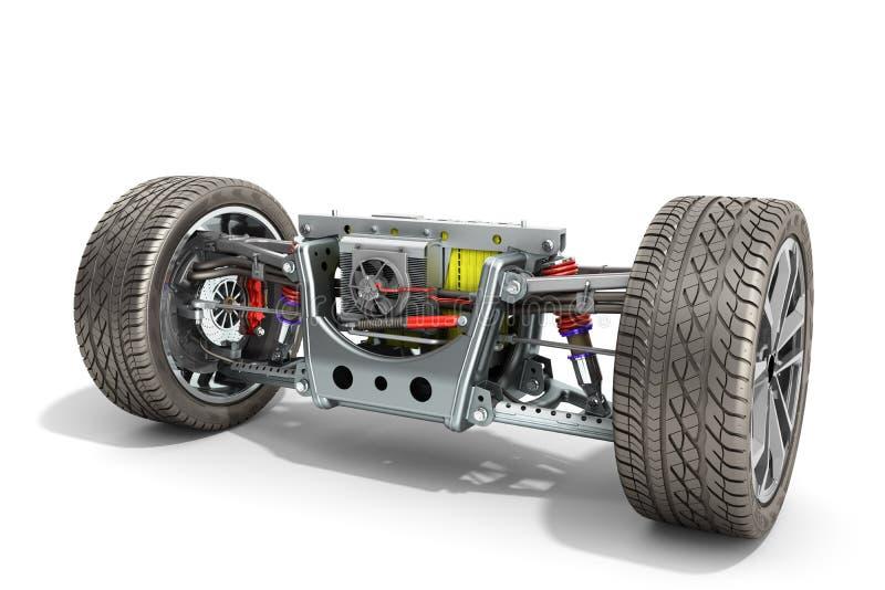 电车与电动车驱动系统的cystem轴距 皇族释放例证