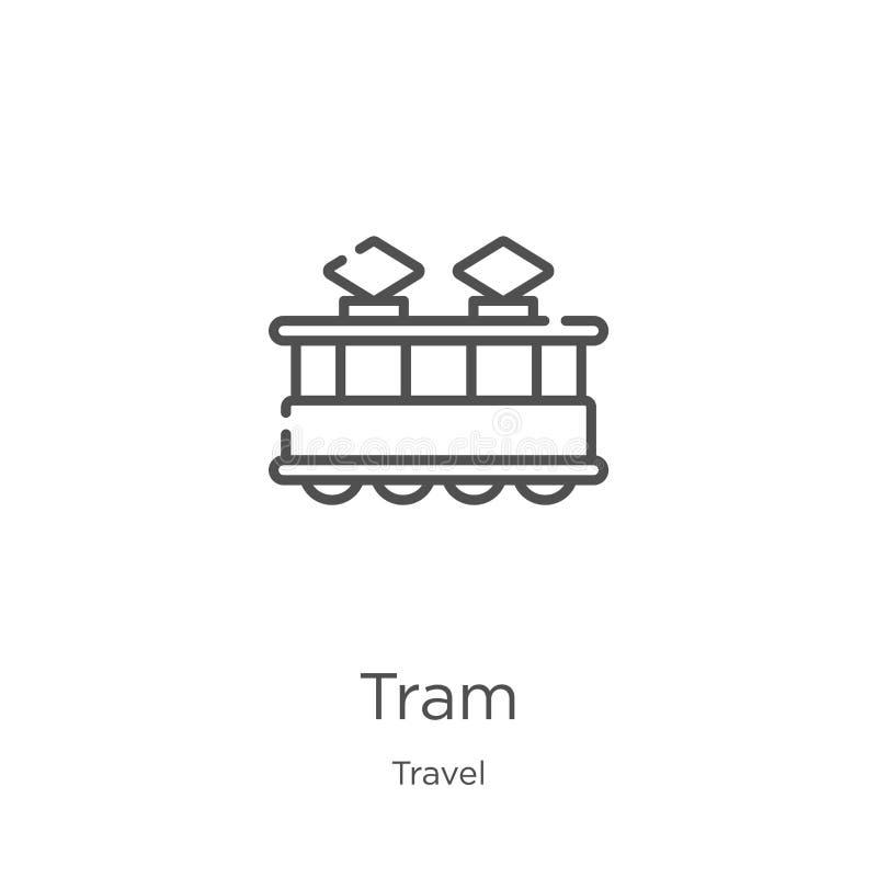 电车从旅行汇集的象传染媒介 稀薄的线电车概述象传染媒介例证 概述,稀薄的线网站的电车象 库存例证