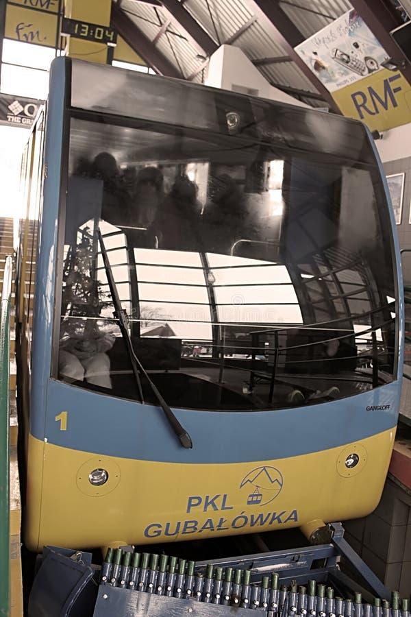 电车从Gubalowka乘坐1126 m n峰顶  P M 在1938年缆索铁路被修造了,扎科帕内 图库摄影