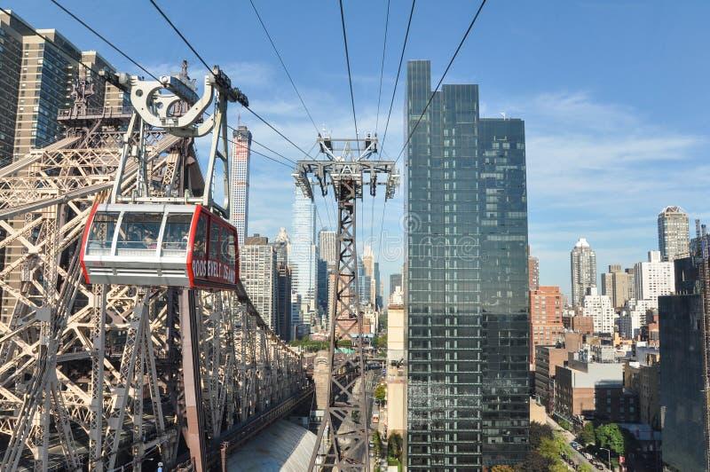 电车到罗斯福海岛在纽约 免版税库存照片