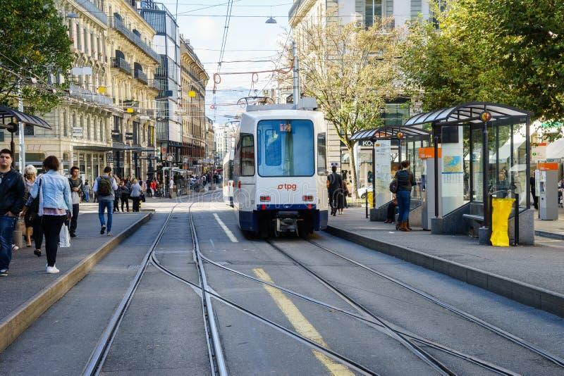 电车在日内瓦,瑞士 图库摄影