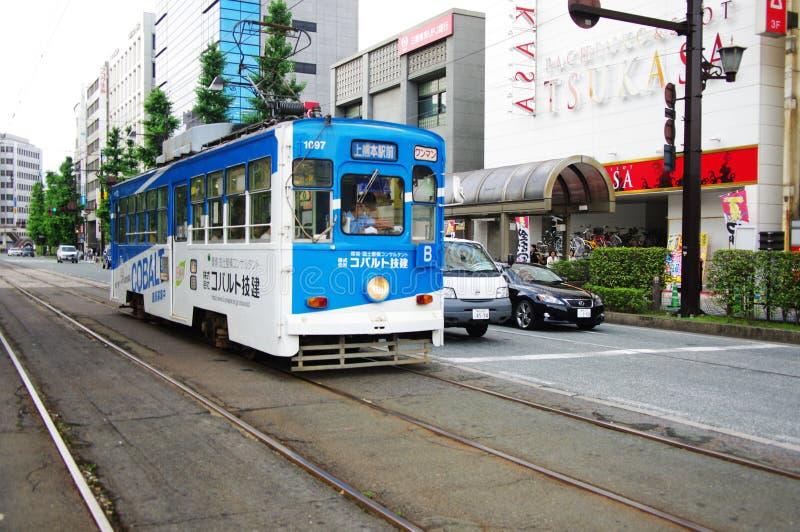 电车在熊本,日本 库存照片