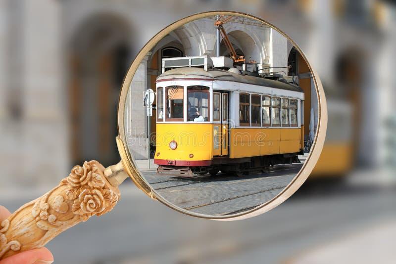 电车在里斯本,葡萄牙 库存图片