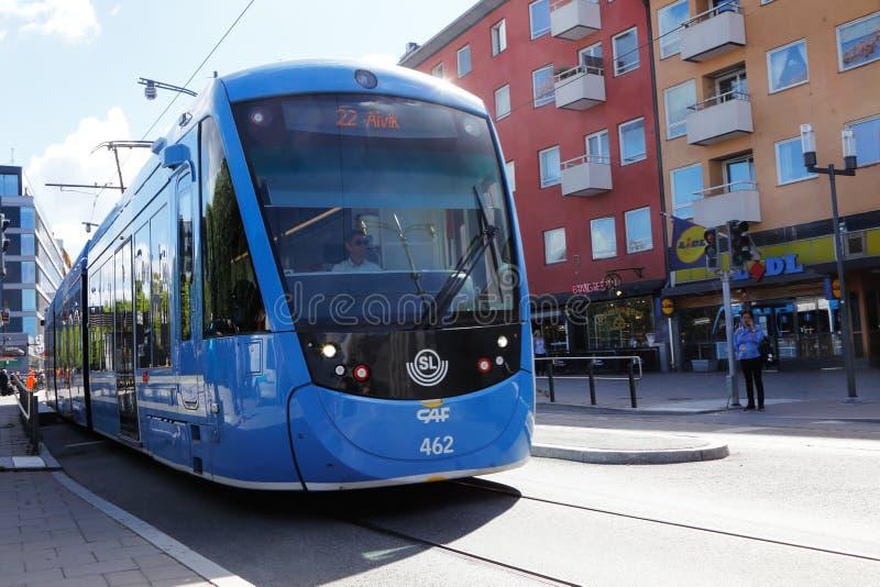 电车在Sundbyberg 库存照片