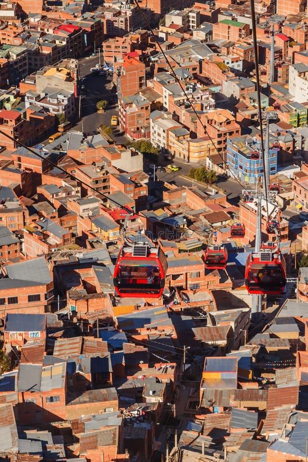 电车或缆索铁路的系统在玻利维亚的首都,拉巴斯,玻利维亚的橙色屋顶和大厦 免版税图库摄影